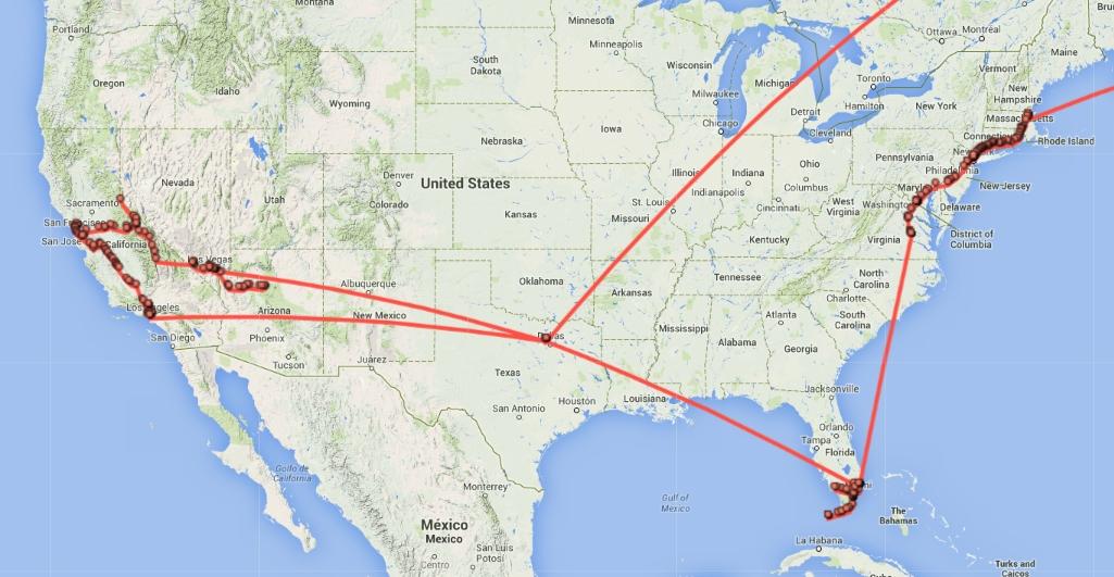 USA-Tour Google Standortverlauf